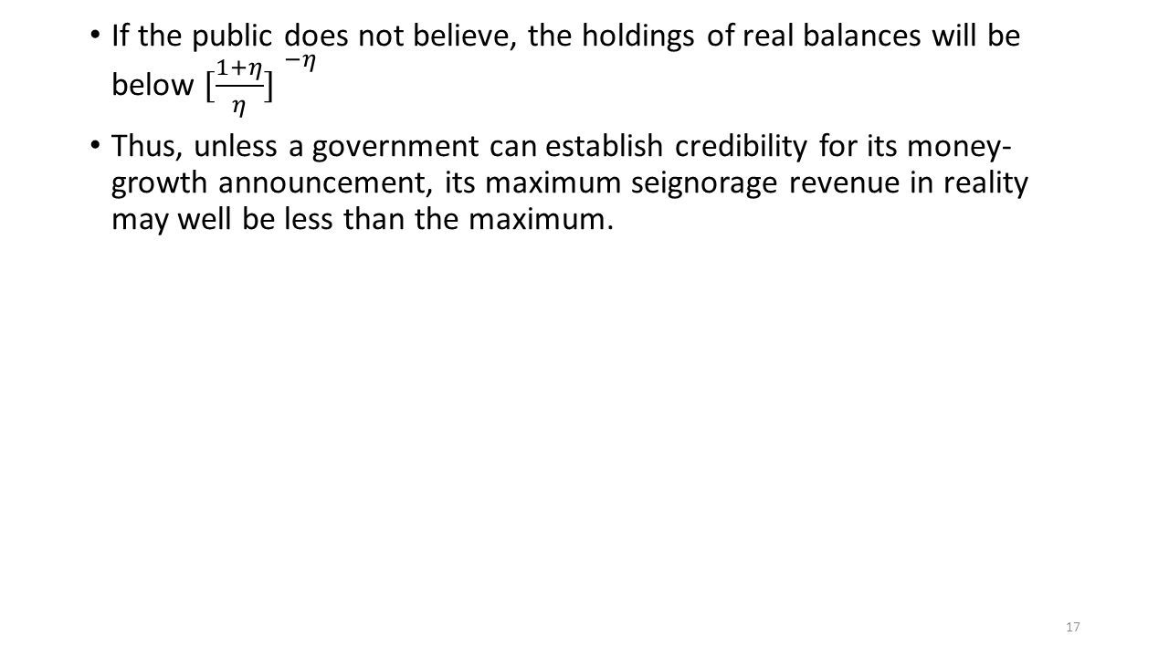 If the public does not believe, the holdings of real balances will be below [ 1+𝜂 𝜂 ] −𝜂